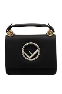 Черная кожаная сумка с логотипом Fendi