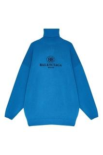 Голубой свитер из шерсти и кашемира Balenciaga