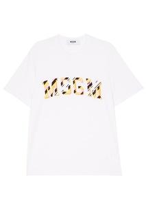 Белая футболка с аппликацией Msgm