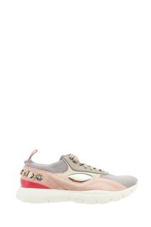 Комбинированные кроссовки с вышивкой Valentino