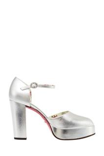 Кожаные серебристые туфли Gucci