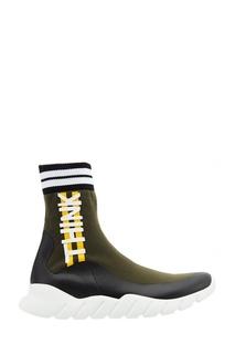 Высокие текстильные кроссовки Fendi