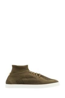 Коричневые кроссовки из джерси Fendi