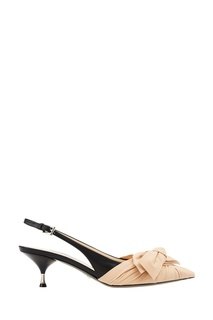 Комбинированные туфли с бантом Prada