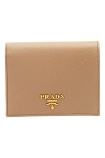 Бежевый кожаный кошелек Prada