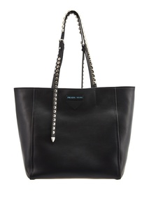 Черная сумка с заклепками на ручках Prada