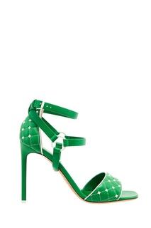 Зеленые босоножки с контрастными шипами Valentino