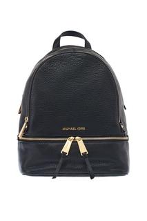 Черный рюкзак с золотистыми молниями Rhea Zip Michael Kors