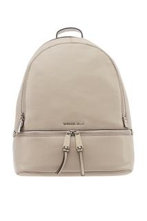 Серый кожаный рюкзак Rhea Zip Michael Kors