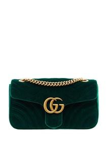 Зеленая бархатная сумка GG Marmont Gucci