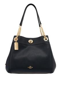 Черная кожаная сумка Edie Turnlock Coach