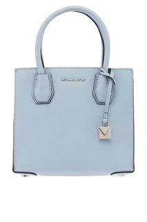 Бледно-голубая кожаная сумка Mercer Michael Kors
