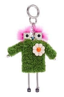 Подвеска-кукла с зеленым мехом Fendi