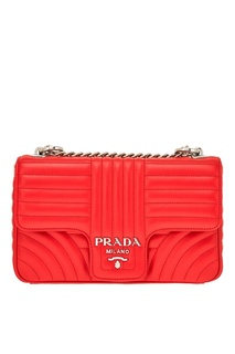 Красная стеганая сумка Diagramme Prada