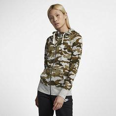 Женская худи c молнией во всю длину с камуфляжным принтом Nike Sportswear Gym Vintage