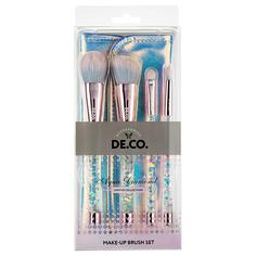 Набор кистей для макияжа DE.CO. AQUA DIAMOND в чехле 4 шт Deco