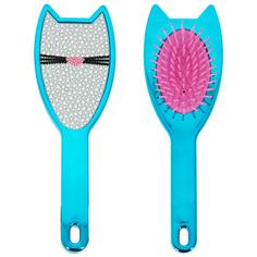 Расческа для волос LADY PINK CAT голубая со стразами
