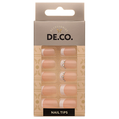 Набор накладных ногтей DE.CO. diamond french 24 шт + клеевые стикеры 24 шт Deco