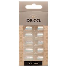 Набор накладных ногтей DE.CO. METALLIC 24 шт + клеевые стикеры 24 шт bright white Deco