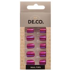 Набор накладных ногтей DE.CO. METALLIC 24 шт + клеевые стикеры 24 шт sparkling rose Deco