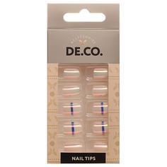 Набор накладных ногтей DE.CO. METALLIC 24 шт + клеевые стикеры 24 шт blue stripe Deco