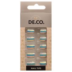 Набор накладных ногтей DE.CO. METALLIC 24 шт + клеевые стикеры 24 шт brilliant grey Deco