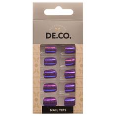 Набор накладных ногтей DE.CO. METALLIC 24 шт + клеевые стикеры 24 шт deep purple Deco