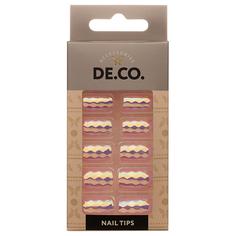 Набор накладных ногтей DE.CO. HOLOGRAM pink view 24 шт + клеевые стикеры 24 шт Deco