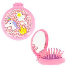 Расческа для волос с зеркалом MISS PINKY UNICORN розовая с короной
