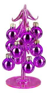 Ель новогодняя с елочными шарами (15 см) ART 594-083