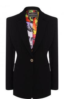 Однотонный шелковый жакет на одной пуговице Versace