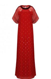 Шелковое платье-макси свободного кроя с принтом Valentino