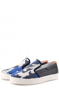 Кожаные слипоны с отделкой из текстиля и принтом Jog Dog