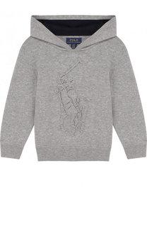 Вязаное худи из хлопка с тисненым логотипом бренда Polo Ralph Lauren