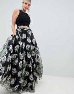 Комплект из топа и юбки макси с цветочным принтом Jovani - Черный