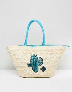Соломенная пляжная сумка с принтом кактусов South Beach - Мульти