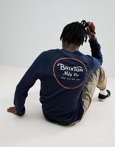 Темно-синий свитшот с принтом на спине Brixton Wheeler - Темно-синий