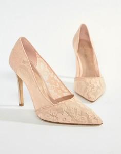 Кружевные туфли на каблуке с острым носком Miss Selfridge - Розовый