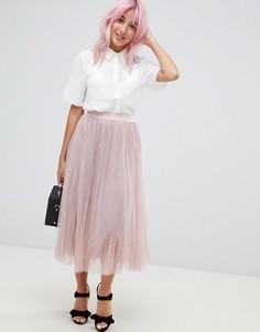 Юбка миди из тюля со складками Amy Lynn - Розовый