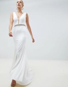 Платье макси со стразами на поясе Jovani - Белый