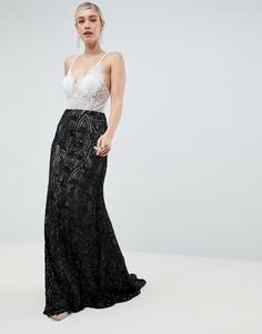 Кружевное платье макси Jovani - Белый