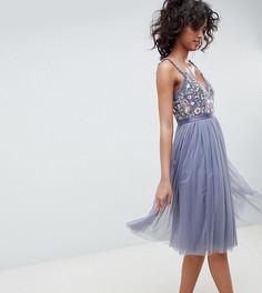 Синее платье миди в винтажном стиле с вышивкой на топе Needle & Thread - Темно-синий