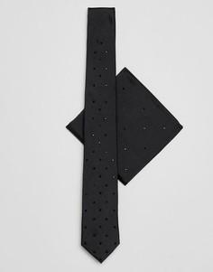 Галстук и платок для нагрудного кармана черного цвета Burton Menswear - Черный