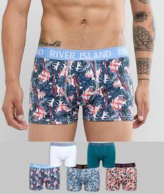 Набор из 5 трусов-хипстеров с цветочным принтом River Island - Синий