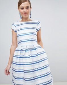 Короткое приталенное платье в полоску Closet London - Мульти
