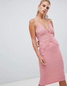 Облегающее платье миди с кружевным топом Rare - Розовый