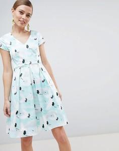 Платье с плиссированной юбкой Closet London - Мульти
