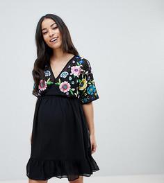 Платье мини с цветочной вышивкой ASOS DESIGN Maternity - Мульти