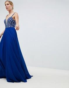 Платье макси с глубоким вырезом и отделкой Jovani - Синий