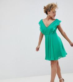Платье мини с плиссировкой, вырезами и оборками ASOS DESIGN Petite - Мульти